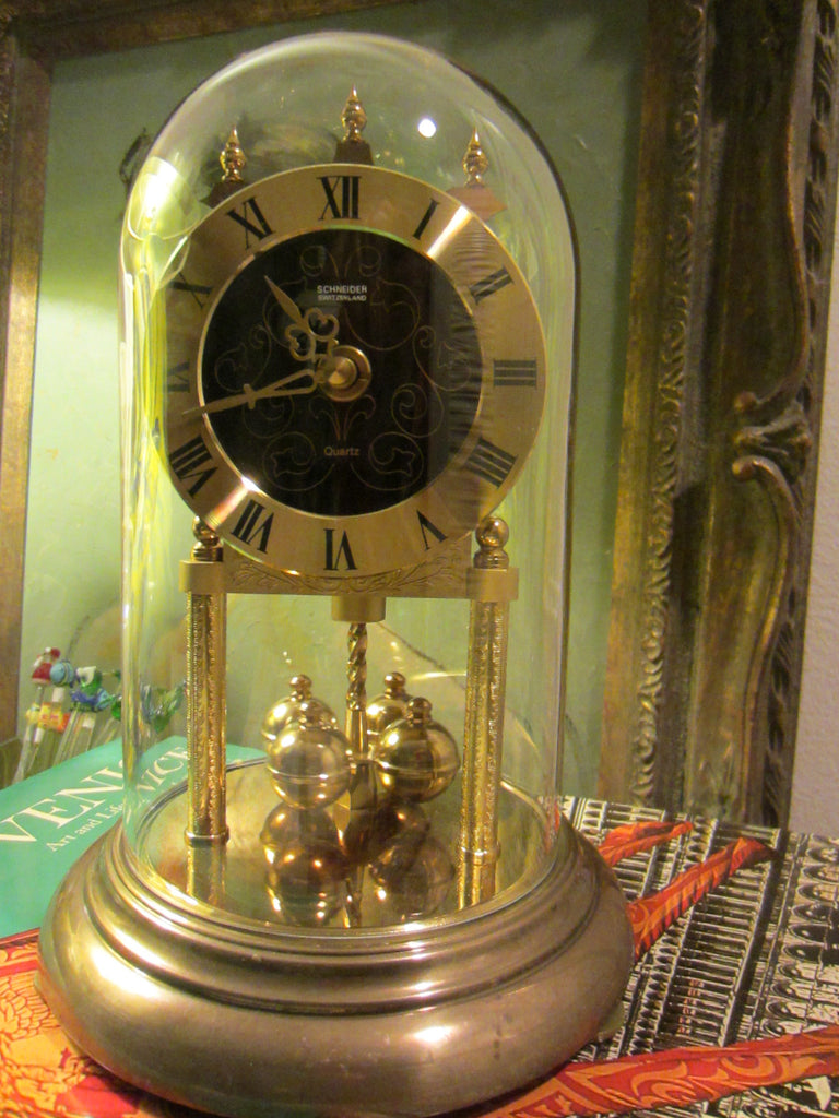 Schneider Switzerland West Germany Pendulum Anniversary Clock Glass Dome - Designer Unique Finds