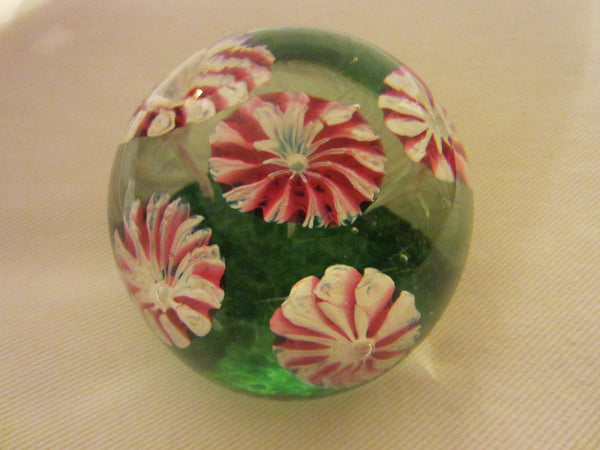 Murano Paperweight Encased Milk Glass Peppermints - Designer Unique Finds   - 1