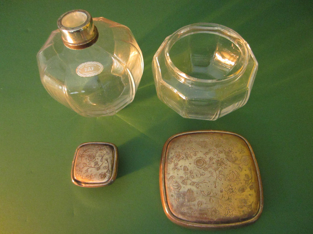 Echt Bleikristal DAF Art Deco Silver Germany Powder Jar Perfume Decanter - Designer Unique Finds   - 1