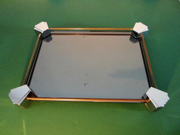 Mid Century Mirror Vanity Tray Lucite Geometric Design - Designer Unique Finds