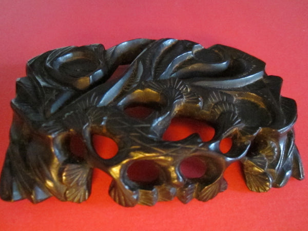 Chinese Ebony Carved Plaque Sculpture Hobei Province Floral Carving - Designer Unique Finds   - 1