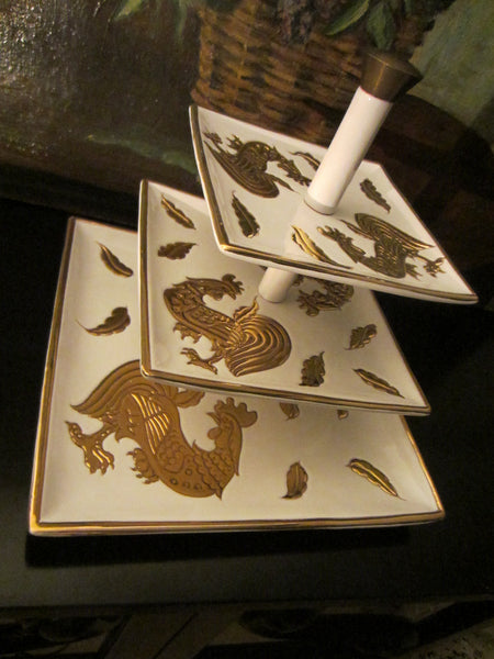 Italian Tiered Porcelain Serving Trays Signed Centerpiece Embossed Gold Roosters - Designer Unique Finds   - 2