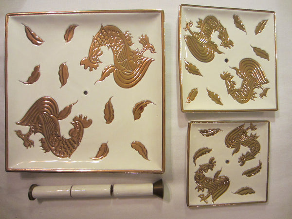 Italian Tiered Porcelain Serving Trays Signed Centerpiece Embossed Gold Roosters - Designer Unique Finds   - 1