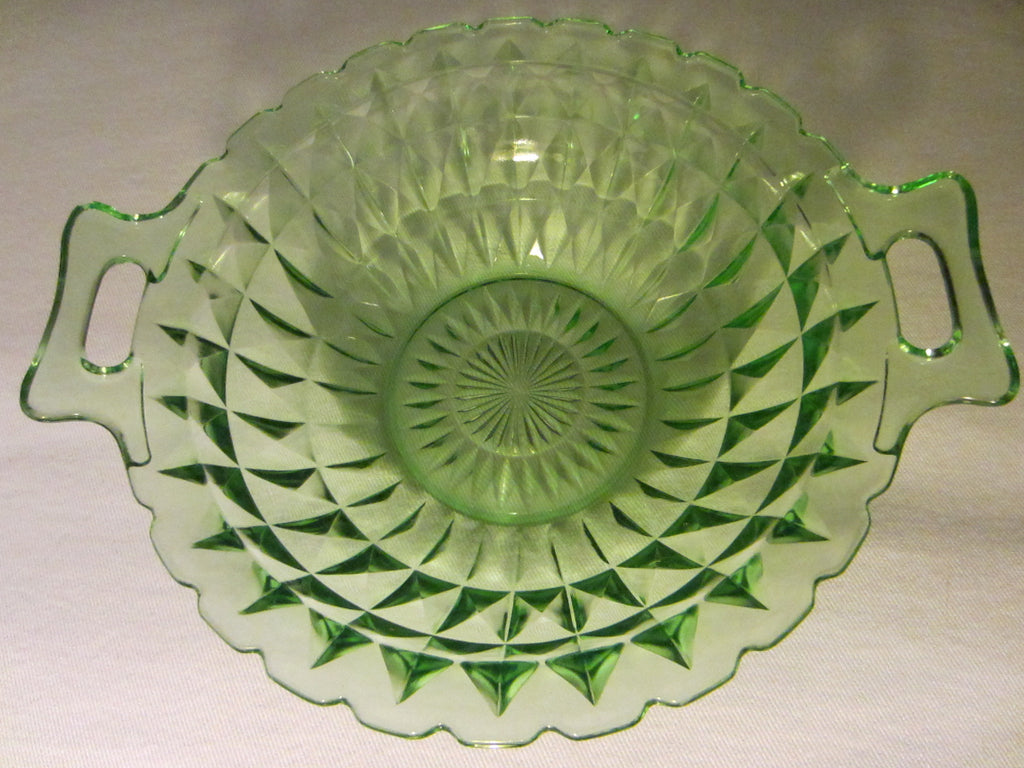 Jeanette Windsor Bowl Diamond Green Depression Glass - Designer Unique Finds   - 1