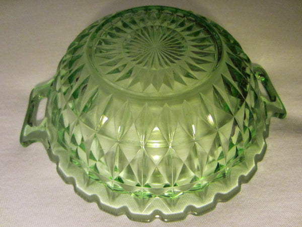 Jeanette Windsor Bowl Diamond Green Depression Glass - Designer Unique Finds   - 4