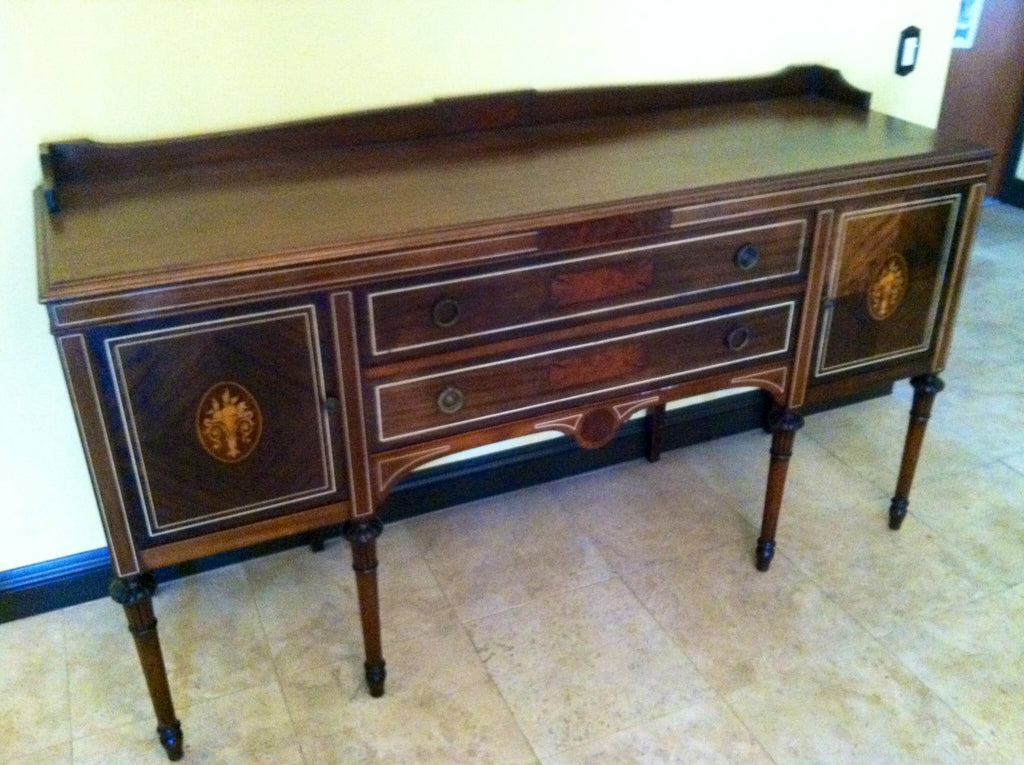 Colonial Style Sideboard Mahogany Inlaid Veneered Fruit Marquetry - Designer Unique Finds