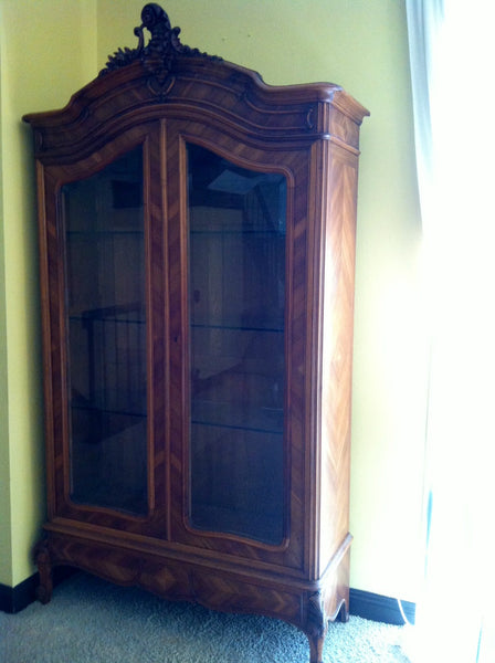 Provincial French Walnut Armoire Double Beveled Glass Doors - Designer Unique Finds   - 2