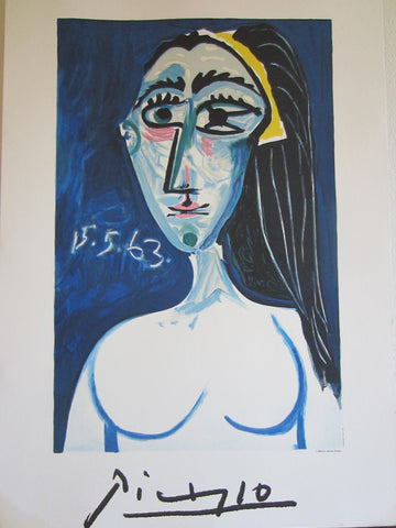 Collection Marina Picasso Mid Century Portrait Print Copyrighted - Designer Unique Finds   - 1