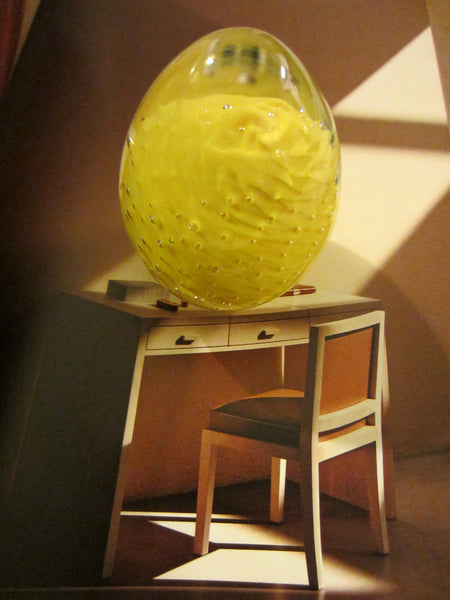 Murano Yellow Egg Controlled Bubbles Glass Paperweight - Designer Unique Finds   - 2