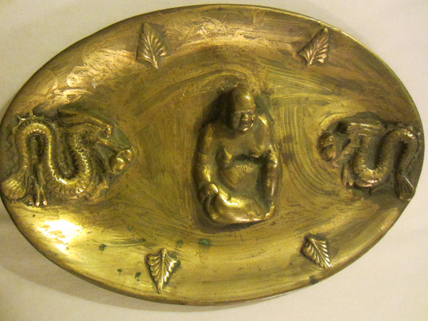 Asian Brass Oval Buddha Charger Tray Decorated Dragon