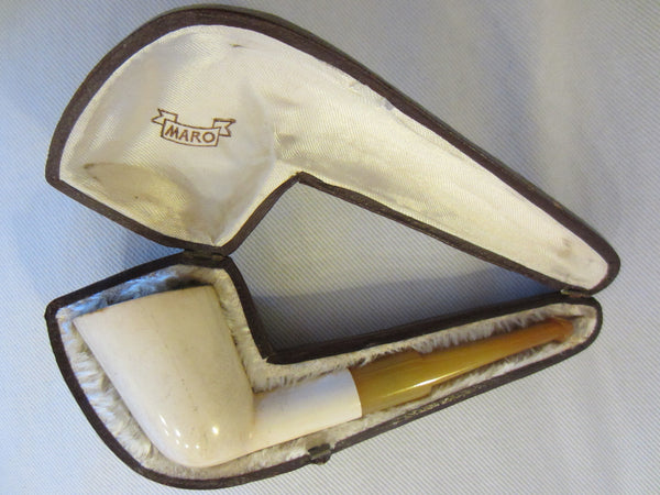 Real Block Meerschaum Smoking Pipe In Hand Made Custom Case - Designer Unique Finds