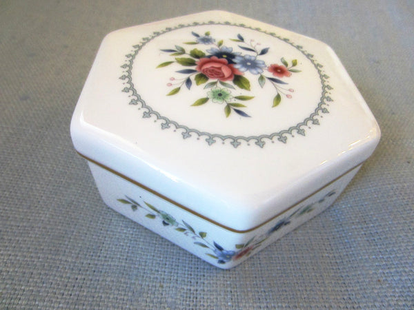 Wedgwood Bone China Hexagon Rosedale Floral Dresser Box - Designer Unique Finds