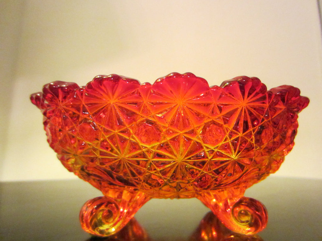 LE Smith Amberina Depression Footed Pressed Daisy Glass Bowl - Designer Unique Finds