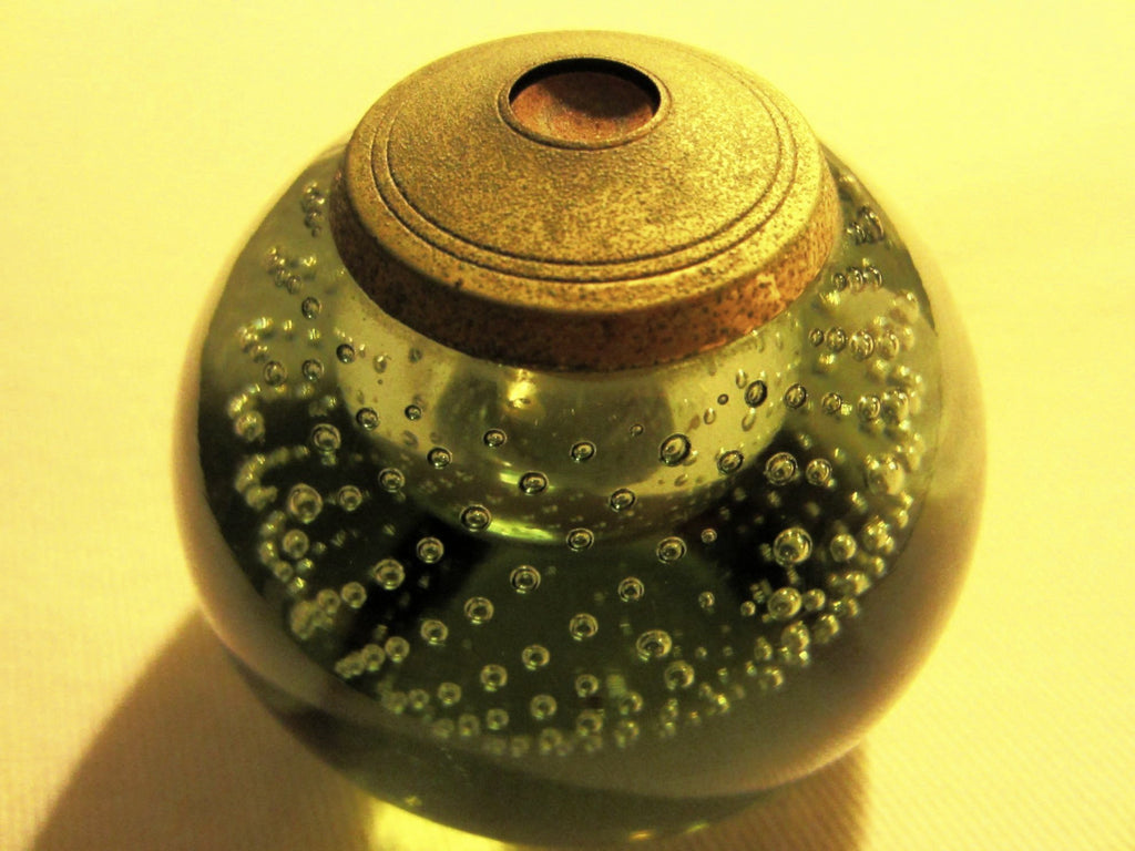 Green Glass Controlled Bubbles Paperweight Metal Patina topper - Designer Unique Finds