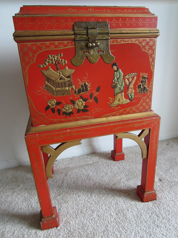 Asian Painted Wood Box On Table Stand Gilt Decorated Enameled Figures - Designer Unique Finds   - 1
