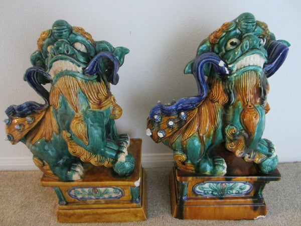 Ceramic Foo Dogs Garden Sculpture Distressed Calligraphy Lions - Designer Unique Finds   - 1