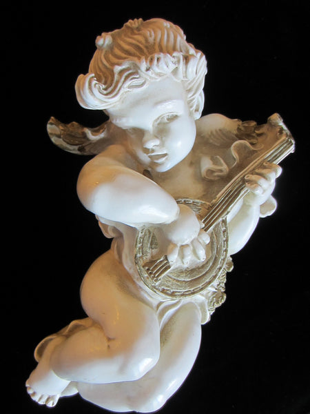 Universal Statuary Heraldic Angel Composite Mid Century Mandolin Player - Designer Unique Finds