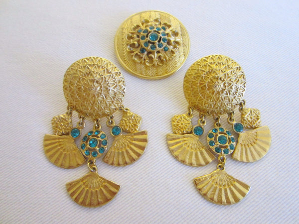 Eastern Inspire Jewelry Brass Brooch Earrings Blue Stones - Designer Unique Finds   - 1