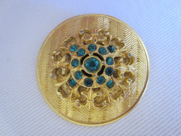 Eastern Inspire Jewelry Brass Brooch Earrings Blue Stones - Designer Unique Finds   - 5