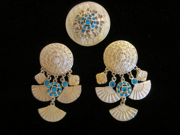 Eastern Inspire Jewelry Brass Brooch Earrings Blue Stones - Designer Unique Finds   - 3