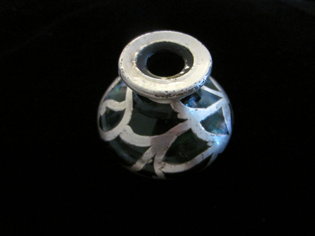 Silver Overlay Emerald Green Glass Miniature Bottle with Sterling Mark - Designer Unique Finds