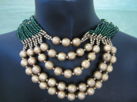 Gold And Green Tribal Beaded Multi Strands Handwork Necklace - Designer Unique Finds