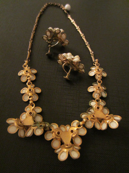 White Petal Flower Necklace Matching Earrings - Designer Unique Finds   - 5