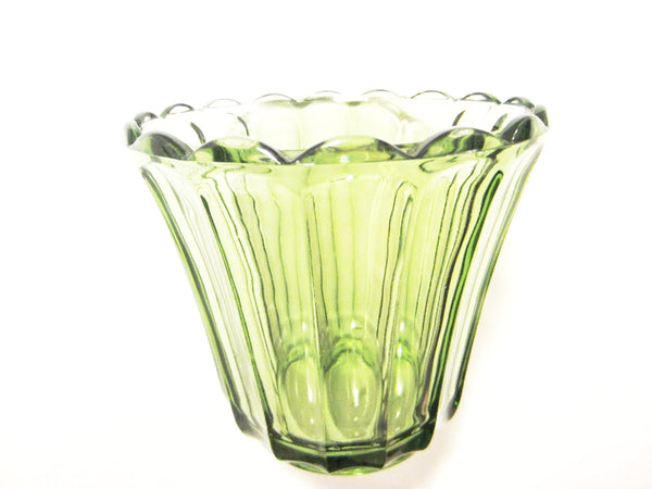 Continental Can Co Green Depression Glass Vase - Designer Unique Finds   - 1