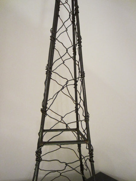 Monumental Architectural Metal Art Wired Eiffel Tower Folk Art Sculpture - Designer Unique Finds