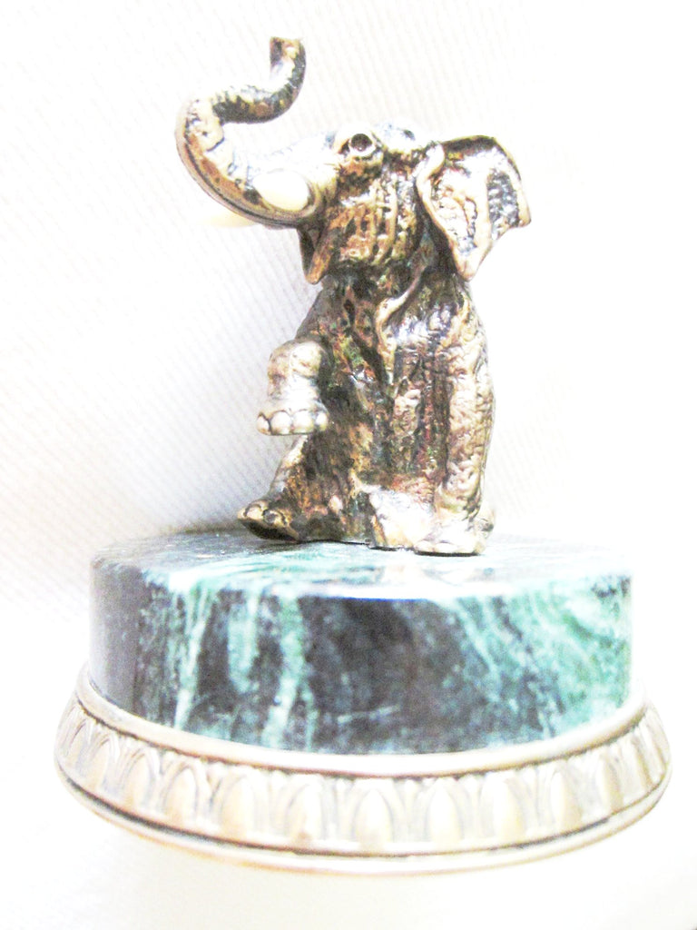 Russian Bronze Elephant On Green Marble Base With 925 Sterling Marks - Designer Unique Finds