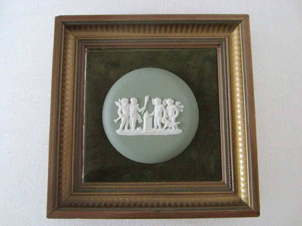 Wedgwood England Cameo Medallion Green Jasper Puttis Framed Art - Designer Unique Finds