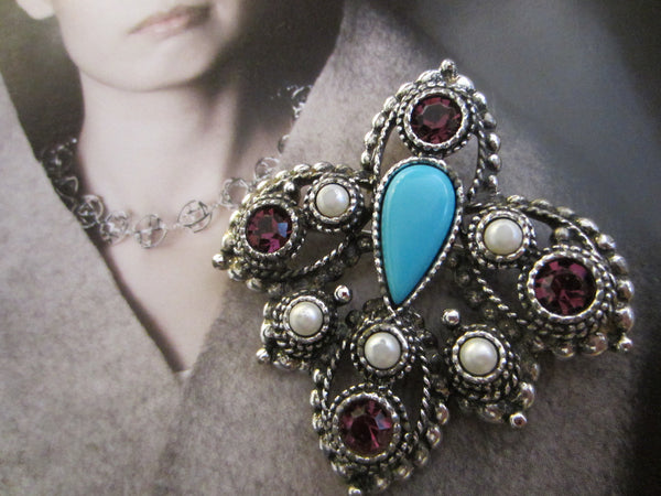 Sarah Coventry Brooch Turquoise Cabochon - Designer Unique Finds   - 3