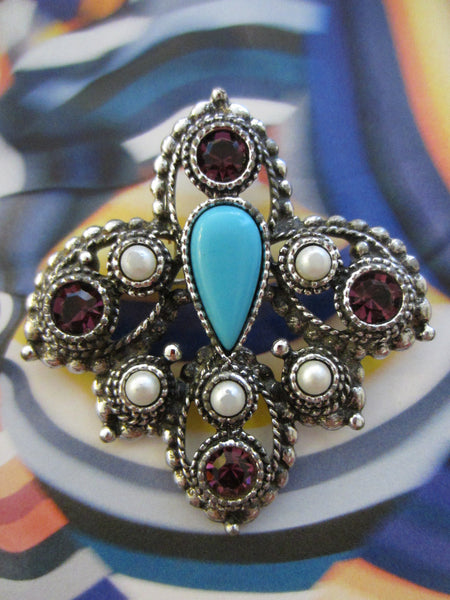 Sarah Coventry Brooch Turquoise Cabochon - Designer Unique Finds   - 2
