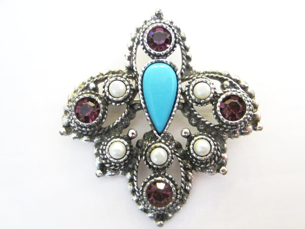 Sarah Coventry Brooch Turquoise Cabochon - Designer Unique Finds   - 1