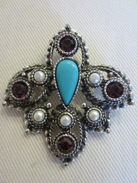 Sarah Coventry Brooch Turquoise Cabochon - Designer Unique Finds   - 5