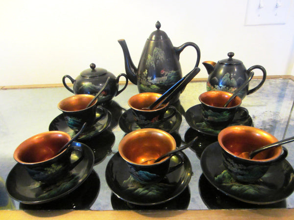 Asian Tea Set Black Lacquered Gold Decorated Hand Painted Outdoor Scene - Designer Unique Finds   - 1