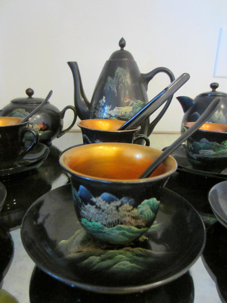 Asian Tea Set Black Lacquered Gold Decorated Hand Painted Outdoor Scene - Designer Unique Finds   - 5