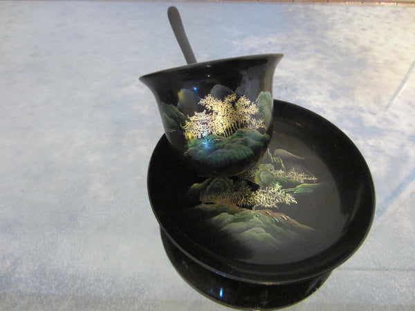 Antique Asian Black Lacquer Hand Painted Tea Service Gold Decorated - Designer Unique Finds