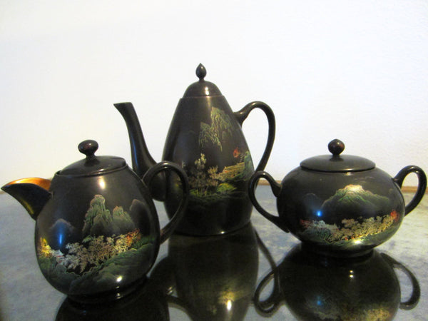 Asian Tea Set Black Lacquered Gold Decorated Hand Painted Outdoor Scene - Designer Unique Finds   - 7