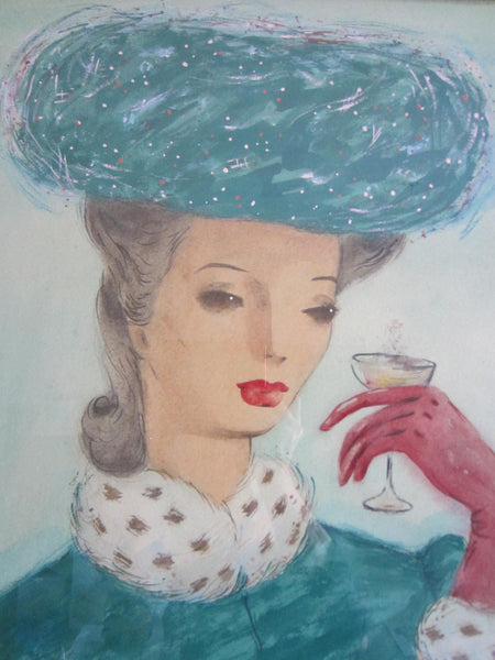 The Cocktail Hour Titled by Wayne Terry Watercolor Signed Portrait - Designer Unique Finds