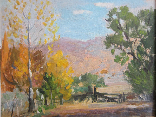 Leonard Scheu Signed Landscape Titled October Oil on Canvas - Designer Unique Finds
