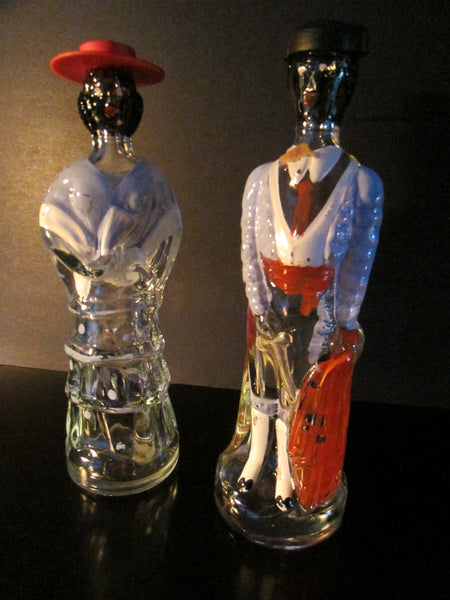 Malaga Spain Matador Senor Senorita Abstract Glass Bottles - Designer Unique Finds