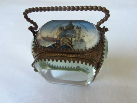 Bronze Fob Casket Stockholm Reverse Painted Glass Display Case Decorated Handle - Designer Unique Finds