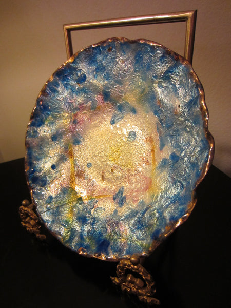Annie Bouquet Paris Contemporary Painted Glass On Copper Signed French Bowl - Designer Unique Finds