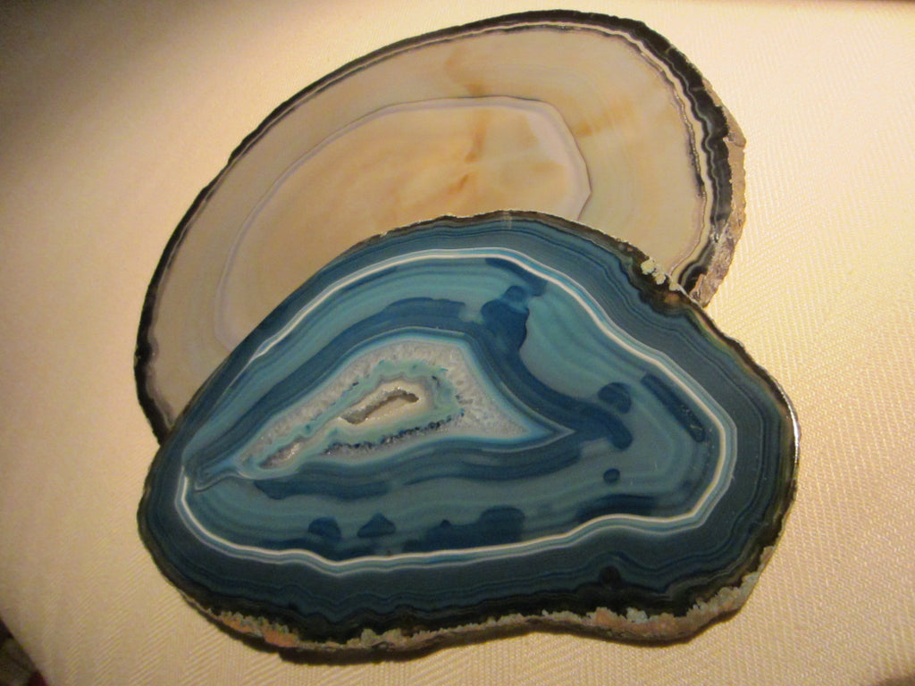 Brazilian Geodes Sliced Blue Red Decorative Agates - Designer Unique Finds   - 1