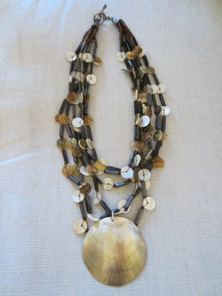 Nautical Clam Shell Abalone Strands Necklace - Designer Unique Finds