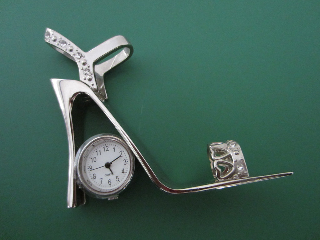 Chrome Rhinestone Modern Open Toe High Heel Shoe Desk Clock - Designer Unique Finds