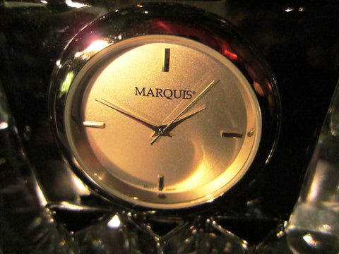 Marquis By Waterford Crystal Desk Clock Japan Movement - Designer Unique Finds