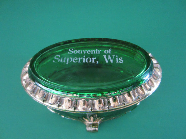 Souvenir of Superior Wis Green Oval Glass Jewelry Box Footed Gilt Decorated - Designer Unique Finds   - 2