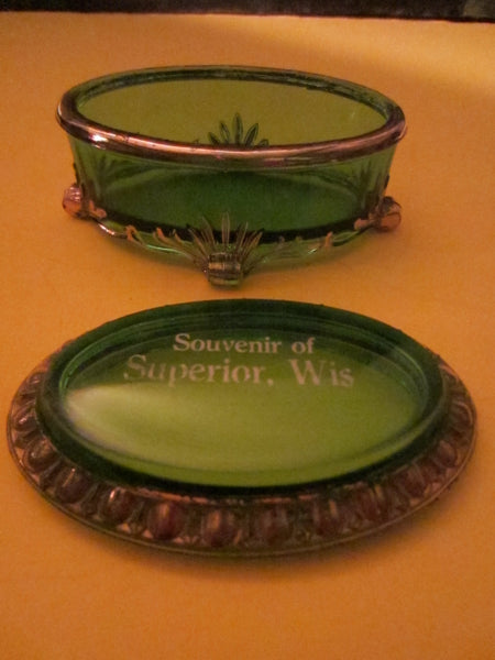 Souvenir of Superior Wis Green Oval Glass Jewelry Box Footed Gilt Decorated - Designer Unique Finds   - 3